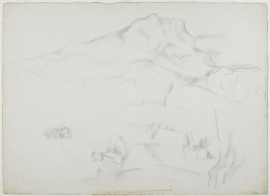 Marsden Hartley (American, 1877-1943). Mont Sainte-Victoire, 1926-1927. Graphite on thick, roughly textured, cream-colored wove paper, Sheet: 22 5/8 x 31 3/16 in. (57.5 x 79.2 cm). Brooklyn Museum, Dick S. Ramsay Fund, 61.4.1. © Estate of Marsden Hartley, Yale University Committee on Intellectual Property