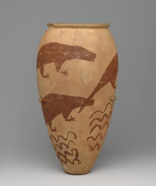 Vase with Painted Animals, ca. 3300-3100 B.C.E. Pottery, painted, 12 5/8 x Diam. 6 1/2 in. (32 x 16.5 cm). Brooklyn Museum, Charles Edwin Wilbour Fund, 61.87. Creative Commons-BY