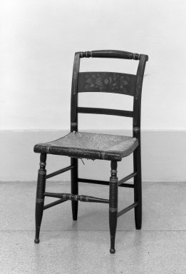 American. Sheraton Side Chair, One of Set, ca.1820. Rush, painted wood, 33 1/2 x 17 in. (85.1 x 43.2 cm). Brooklyn Museum, Dick S. Ramsay Fund, 62.105.1. Creative Commons-BY