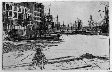 James Abbott McNeill Whistler (American, 1834-1903). Eagle Wharf, 1859. Etching, Sheet: 8 7/8 x 13 5/16 in. (22.5 x 33.8 cm). Brooklyn Museum, Gift of Dr. and Mrs. Frank L. Babbott, Jr., 62.110.5