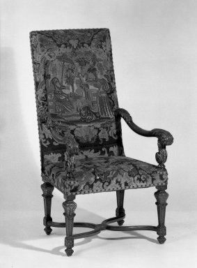 Armchaire, 19th century. Walnut - needlework, 46 1/2 x 24 x 19 1/4 in. (118.1 x 61 x 48.9 cm). Brooklyn Museum, Gift of Mrs. Joseph M. Schulte, 62.177. Creative Commons-BY