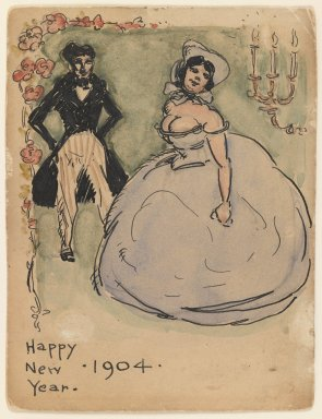 Walt Kuhn (American, 1877-1949). Happy New Year, 1904. Pen and ink and watercolor on paper, Sheet: 4 5/8 x 3 1/2 in. (11.7 x 8.9 cm). Brooklyn Museum, Gift of Brenda Kuhn, 62.32.7. © Estate of Walt Kuhn