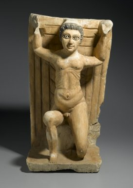 Paralytic Raising His Bed, 20th century C.E. (probably). Limestone, painted, 24 7/16 x 13 9/16 x 12 in. (62 x 34.5 x 30.5 cm). Brooklyn Museum, Charles Edwin Wilbour Fund, 62.44. Creative Commons-BY