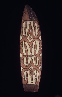 Asmat. Shield (Jamasj), 20th century. Wood, pigment, 80 x 20 1/2 x 3 1/4 in. (203.2 x 52.1 x 8.3 cm). Brooklyn Museum, Gift of Stanley Ross, 62.55.11. Creative Commons-BY