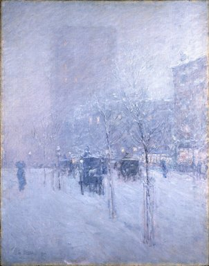 Frederick Childe Hassam (American, 1859-1935). Late Afternoon, New York, Winter, 1900. Oil on canvas, 36 15/16 x 29 in. (93.8 x 73.7 cm). Brooklyn Museum, Dick S. Ramsay Fund, 62.68
