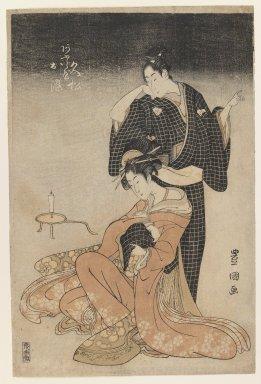 Utagawa Toyokuni I (Japanese, 1769-1825). Two Lovers, ca. 1798. Woodblock print, Image: 14 7/16 x 10 3/8 in. (36.6 x 26.3 cm). Brooklyn Museum, Gift of Dr. and Mrs. Frank L. Babbott, Jr., 62.79.4