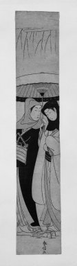 Suzuki Harunobu (Japanese, 1724-1770). Two Lovers in Snow beneath Umbrella (Crow and Heron), ca. 1770. Woodblock color print, 26 9/16 x 4 7/8 in. (67.5 x 12.4 cm). Brooklyn Museum, Gift of Dr. and Mrs. Frank L. Babbott, Jr., 62.79.6