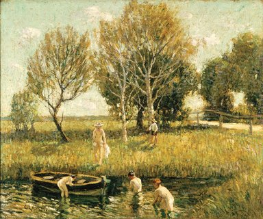 Ernest Lawson (American, 1873-1939). Boys Bathing, ca. 1908-1910. Oil on canvas, 25 3/8 x 30 5/16 in. (64.5 x 77 cm). Brooklyn Museum, Gift of Mr. and Mrs. Russell Hopkinson, 62.80