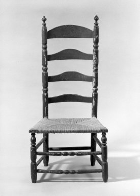 American. Slat-Back Low Chair, ca. 1720. Wood, maple, 40 x 19 1/4 x 14 3/4 in. (101.6 x 48.9 x 37.5 cm). Brooklyn Museum, Purchased with funds given by anonymous donors, 63.100.2. Creative Commons-BY