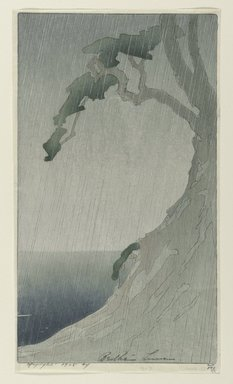 Bertha Lum (American, 1879-1954). Rain, 1908. Color woodcut on cream, thin, Japanese wove paper, Sheet: 11 1/2 x 6 1/2 in. (29.2 x 16.5 cm). Brooklyn Museum, Gift of the Achenbach Foundation for Graphic Arts, 63.108.2. © Estate of Bertha Lum