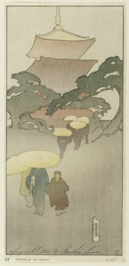 Bertha Lum (American, 1879-1954). Temple in Rain, 1916. Woodcut in color on Japan paper, Sheet: 10 7/8 x 5 1/8 in. (27.6 x 13 cm). Brooklyn Museum, Gift of the Achenbach Foundation for Graphic Arts, 63.108.7. © Estate of Bertha Lum