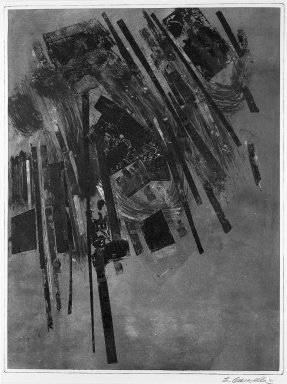 Brooklyn Museum: Untitled (red, black and green forms on blue background)