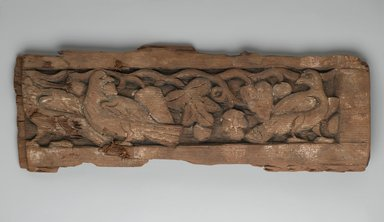 Panel with Birds and Vines, 8th century. Wood, 6 7/8 x 20 1/2 in. (17.5 x 52 cm). Brooklyn Museum, Gift of Nessim Cohen, 63.138. Creative Commons-BY