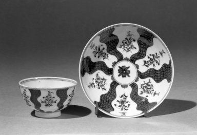 Lowestoft Porcelain Factory. Cup (or Tea Bowl) and Saucer. Porcelain Brooklyn Museum, Gift of H. Randolph Lever, 63.143.5a-b. Creative Commons-BY