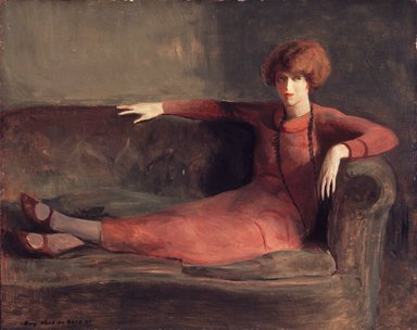 Guy Pène du Bois (American, 1884-1958). Woman on Sofa, ca. 1922-1927. Oil on panel, 26 x 31 in. (66 x 78.7 cm). Brooklyn Museum, Gift of Chester Dale, 63.148.1. © courtesy estate of Yvonne Pene du Bois McKenney and Graham Gallery, New York