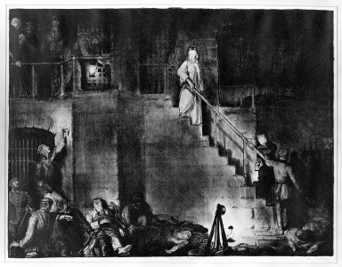 "George Wesley Bellows (American, 1882-1925). Murder of Edith Cavell  ""The War Series,"" 1918. Lithograph on wove paper, Image: 18 7/8 x 24 13/16 in. (48 x 63 cm). Brooklyn Museum, Gift of Chester Dale, 63.155.12"