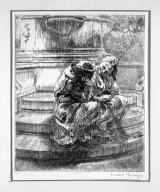 Isabel Bishop (American, 1902-1988). Girls Sitting at Fountain in Union Square, 1935. Etching on wove paper, Plate: 6 x 5 in. (15.2 x 12.7 cm). Brooklyn Museum, Dick S. Ramsay Fund, 63.160.1. © Estate of Isabel Bishop