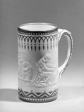 Union Porcelain Works (1863-ca.1922). Cylindrical Mug, 1882. Porcelain, 5 1/2 x 3 1/8 x 3 1/8 in. (14 x 7.9 x 7.9 cm). Brooklyn Museum, Gift of Mr. and Mrs. Samuel Schwartz, 63.188. Creative Commons-BY
