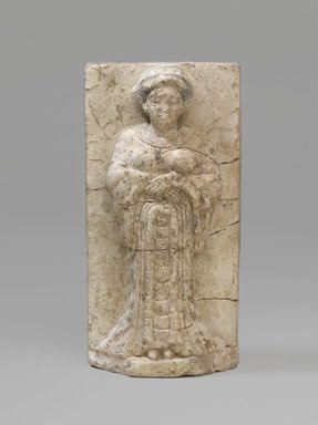 Woman or Goddess, middle of 4th century B.C.E. Limestone, painted, 5 7/8 x 3 in. (15 x 7.6 cm). Brooklyn Museum, Charles Edwin Wilbour Fund, 63.37. Creative Commons-BY