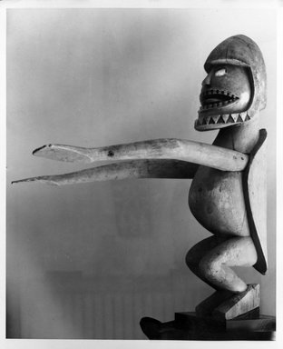 Figure (Kareau), 19th century. Wood, shell, pigment, 29 x 17 1/2 x 25 1/2 in. (73.7 x 44.5 x 64.8 cm). Brooklyn Museum, Ella C. Woodward Memorial Fund and Museum Collection Fund, 63.57. Creative Commons-BY