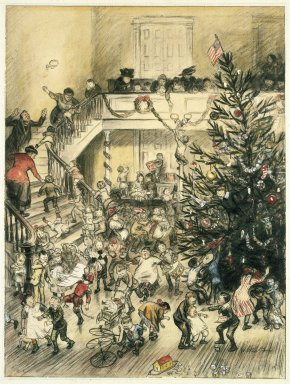 William Glackens (American, 1870-1938). Merry Christmas (Yuletide Revels), ca. 1910. Graphite, Conté crayon, ink, and transparent and opaque watercolor on laminated board adhered to wood pulp board, Sheet: 24 3/8 x 18 1/2 in. (61.9 x 47 cm). Brooklyn Museum, Gift of Ira Glackens, 63.58