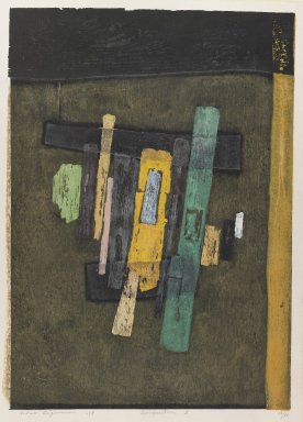 Hagiwara Hideo (Japanese, born 1913). Composition Z, 1958. Color woodcut, 20 7/8 x 14 9/16 in. (53 x 37 cm). Brooklyn Museum, Carll H. de Silver Fund, 63.68.11. © Hagiwara Hideo