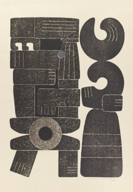 Yoshida  Hodaka (Japanese, 1926-1995). Ancient People, 1956. Relief print on paper, 17 1/8 x 12 5/16 in. (43.5 x 31.2 cm). Brooklyn Museum, Carll H. de Silver Fund, 63.68.15. © Estate of Yoshida Hodaka
