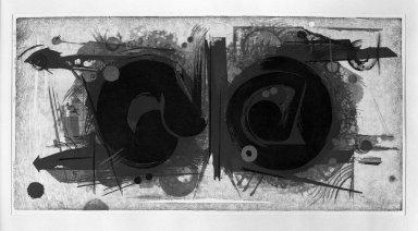 Yoshida  Hodaka (Japanese, 1926-1995). Offering B, 1962. Woodcut on paper, 29 1/2 x 14 3/4 in. (74.9 x 37.5 cm). Brooklyn Museum, Carll H. de Silver Fund, 63.68.16. © Estate of Yoshida Hodaka