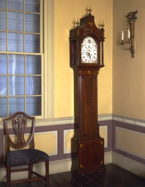 American. Tall Clock, ca. 1800. Mahogany, brass, 104 x 19 1/2 x 9 in.  (264.2 x 49.5 x 22.9 cm). Brooklyn Museum, Gift of Mrs. Teunis Schenck, 63.97. Creative Commons-BY