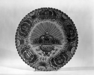 Plate - One of Set of Six. Earthenware, tin glaze Brooklyn Museum, Purchased with funds given by anonymous donors, 63.99.1. Creative Commons-BY