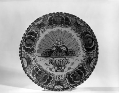 Plate - One of Set of Six. Earthenware, tin glaze Brooklyn Museum, Purchased with funds given by anonymous donors, 63.99.2. Creative Commons-BY