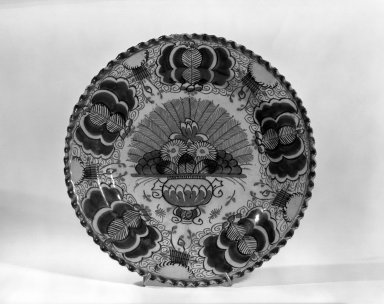 Plate - One of Set of Six. Earthenware, tin glaze Brooklyn Museum, Purchased with funds given by anonymous donors, 63.99.3. Creative Commons-BY