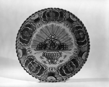 Plate - One of Set of Six. Earthenware, tin glaze Brooklyn Museum, Purchased with funds given by anonymous donors, 63.99.5. Creative Commons-BY