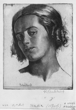 Gerald Leslie Brockhurst (British, 1890-1978). Nadia, 1921. Etching on laid paper, 5 1/2 x 4 3/8 in. (14 x 11.1 cm). Brooklyn Museum, Gift of The Louis E. Stern Foundation, Inc., 64.101.105
