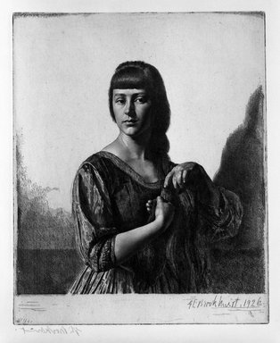 Gerald Leslie Brockhurst (British, 1890-1978). La Tresse, 1926. Etching on wove paper, 21 5/16 x 17 3/16 in. (54.1 x 43.7 cm). Brooklyn Museum, Gift of The Louis E. Stern Foundation, Inc., 64.101.123. © Richard Woodward