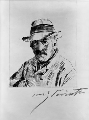 Lovis Corinth (German, 1858-1925). Self-Portrait in Straw Hat (Selbstbildnis im Strohhut), 1913. Drypoint on buff wove paper, Image (Plate): 5 7/8 x 4 9/16 in. (14.9 x 11.6 cm). Brooklyn Museum, Gift of The Louis E. Stern Foundation, Inc., 64.101.139