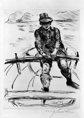 Lovis Corinth (German, 1858-1925). Thomas in a Rowboat (Thomas im Ruderboot), 1919. Etching and drypoint on laid paper, Image: 12 9/16 x 9 3/4 in. (31.9 x 24.8 cm). Brooklyn Museum, Gift of The Louis E. Stern Foundation, Inc., 64.101.140