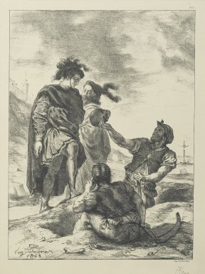 Eugène Delacroix (French, 1798-1863). Hamlet and Horatio Before the Grave Diggers, 1843. Lithograph on wove Arches paper, Image: 11 1/4 x 8 3/8 in. (28.5 x 21.2 cm). Brooklyn Museum, Gift of The Louis E. Stern Foundation, Inc., 64.101.143
