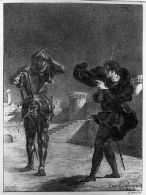 Eugène Delacroix (French, 1798-1863). The Phantom on the Terrace, Hamlet, 1843. Lithograph on wove Arches paper, 10 3/8 x 7 5/8 in. (26.4 x 19.4 cm). Brooklyn Museum, Gift of The Louis E. Stern Foundation, Inc., 64.101.144