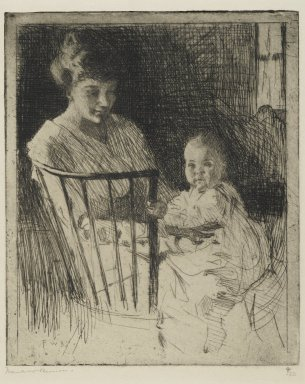 Frank Weston Benson (American, 1862-1951). Mother and Child, 1913. Etching with some dry point on wove paper, Sheet: 11 5/8 x 9 in. (29.5 x 22.9 cm). Brooklyn Museum, Gift of The Louis E. Stern Foundation, Inc., 64.101.17
