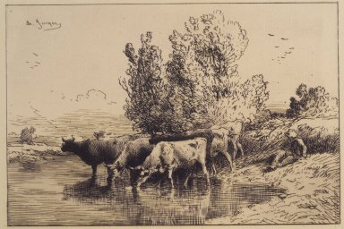 Charles-Émile Jacque (French, 1813-1894). Cows, 1865. Etching on laid paper, 5 13/16 x 8 5/16 in. (14.8 x 21.1 cm). Brooklyn Museum, Gift of The Louis E. Stern Foundation, Inc., 64.101.233