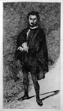 Édouard Manet (French, 1832-1883). Rouviere in the Role of Hamlet, 1865-1866. Etching on laid paper, 11 13/16 x 6 3/8 in. (30 x 16.2 cm). Brooklyn Museum, Gift of The Louis E. Stern Foundation, Inc., 64.101.273