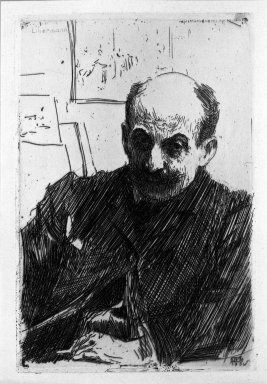 Anders Zorn (Swedish, 1860-1920). Max Liebermann, 1891. Etching on wove paper, 9 7/16 x 6 5/16 in. (24 x 16.1 cm). Brooklyn Museum, Gift of The Louis E. Stern Foundation, Inc., 64.101.339