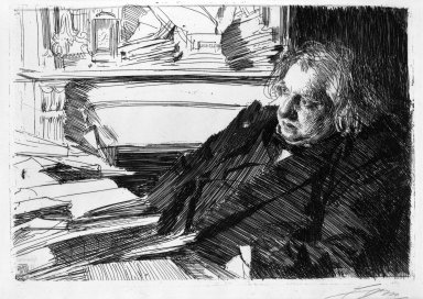Anders Zorn (Swedish, 1860-1920). Ernest Renan, 1892. Etching on laid paper, 9 1/16 x 13 3/16 in. (23 x 33.5 cm). Brooklyn Museum, Gift of The Louis E. Stern Foundation, Inc., 64.101.340
