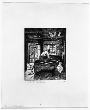 Arthur William Heintzelman (American, 1891-1965). The Boat Building, 1918. Etching Brooklyn Museum, Gift of The Louis E. Stern Foundation, Inc., 64.101.380
