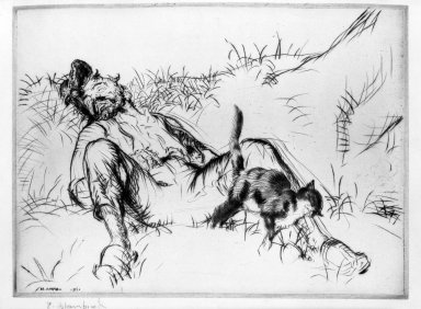 Edmund Blampied (British, 1886-1966). Purring and Snoring, 1921. Drypoint on wove paper, Sheet: 7 x 9 3/8 in. (17.8 x 23.8 cm). Brooklyn Museum, Gift of The Louis E. Stern Foundation, Inc., 64.101.84