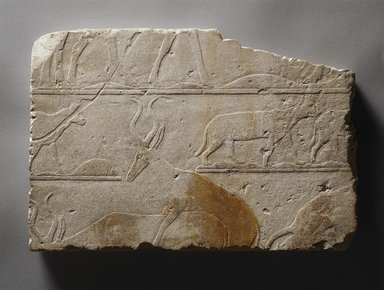 Relief with Desert Animals, ca. 2472-2455 B.C.E. Limestone, painted, 11 7/16 x 17 1/16 x 1 3/16 in. (29 x 43.3 x 3 cm). Brooklyn Museum, Charles Edwin Wilbour Fund, 64.147. Creative Commons-BY