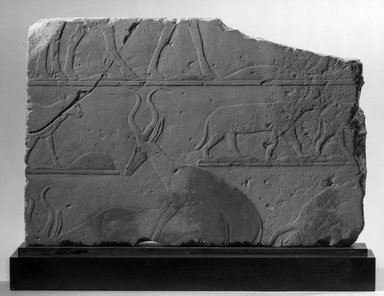 Relief with Desert Scene, ca. 2472-2455 B.C.E. Limestone, painted, 11 7/16 x 17 1/16 x 1 3/16 in. (29 x 43.3 x 3 cm). Brooklyn Museum, Charles Edwin Wilbour Fund, 64.147. Creative Commons-BY