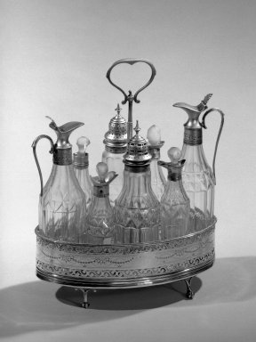 Hester Bateman (English, active in London, 1774-1789). Set of Casters on Stand, ca.1790. Silver, 10 1/2 in. (26.7 cm). Brooklyn Museum, Gift of Mr. and Mrs. Frederick B. Hicks, 64.152.10a-k. Creative Commons-BY