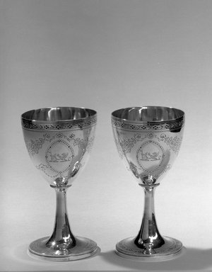 Hester Bateman (English, active in London, 1774-1789). Pair of Goblets, ca. 1786-1787. Silver, height: 6 3/8 in. (16.2 cm); diameter of base: 3 1/4 in. (8.3 cm). Brooklyn Museum, Gift of Mr. and Mrs. Frederick B. Hicks, 64.152.11a-b. Creative Commons-BY